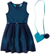 Knitworks Girls 4-6x Belted Burnout Stripe Dress with Crossbody Accessory Purse