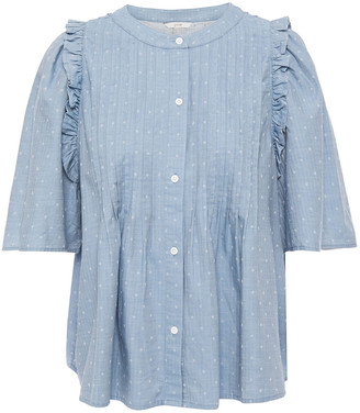 Joie Ruffle-trimmed Pintucked Cotton-jacquard Shirt
