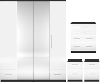 Cologne Gloss 4-Piece Package - 4 Door, 2 Drawer Mirrored Wardrobe, 4 Drawer Chest, 2 Bedside Cabinets (Buy and SAVE!)