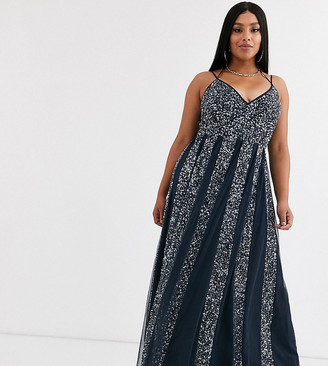 Asos DESIGN Curve cami strap maxi dress in mesh with embellished sequin godet panels-Silver