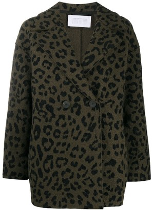 Harris Wharf London Double Breasted Leopard Print Jacket