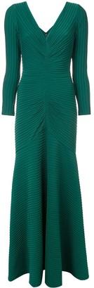 Tadashi Shoji Ribbed Detail Long Dress