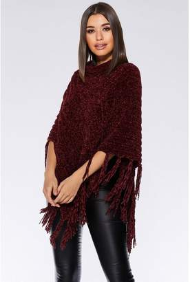 Quiz Burgundy Chenille Knit Tassel Poncho