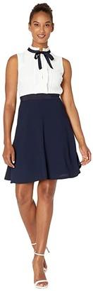 CeCe Sleeveless A-Line Dress with Pleated Trim