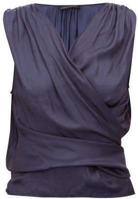 Carl Kapp - Ariel Satin Wrap Top - Womens - Navy