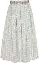 Holly Fulton Embellished Silk-Crepe Skirt