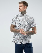 Paul Smith Floral Short Sleeve Shirt In White