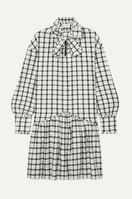 MUNTHE Tie-neck Ruffled Checked Cotton Dress - White