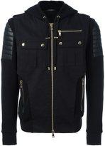 Balmain hooded biker-inspired bomber jacket