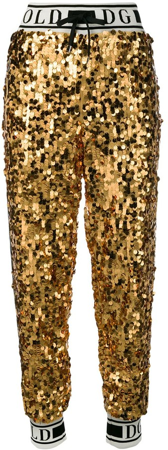 Dolce & Gabbana logo sequinned track pants