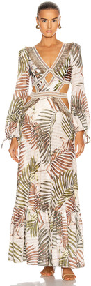 PatBO Palmeira Long Sleeve Crotchet Beach Dress in Ivory | FWRD