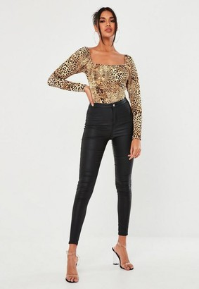 Missguided Brown Leopard Print Ruched Bust Bodysuit