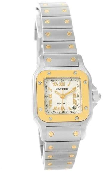 Cartier Santos W20057C4 Stainless Steel 18K Yellow Gold Automatic 24mm Womens Watch