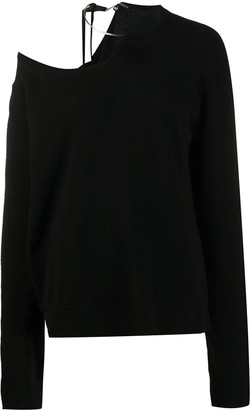 Ann Demeulemeester Asymmetric One Shoulder Wool Jumper