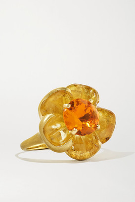 Irene Neuwirth Tropical Flower 18-karat Gold, Beryl And Fire Opal Ring - 7