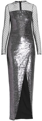 Balmain Sheer Jewel-Sleeve Sequin Wrap Dress