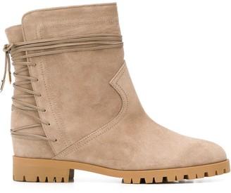 Aquazzura Lace-Up Low-Heel Ankle Boots