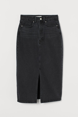 H&M Denim Slit Skirt - Gray