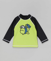 Flap Happy Green & Black Pirate Fish Rashguard - Infant