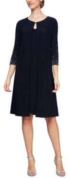 Alex Evenings Petite Embellished-Sleeve Jacket Dress