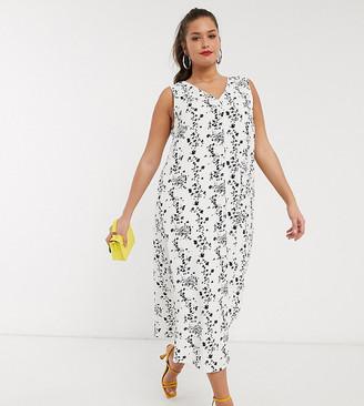 Glamorous Curve sleeveless midi column dress in vintage floral