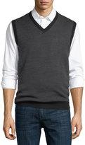 Neiman Marcus Birdseye-Knit Wool-Blend Vest