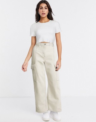 Topshop straight leg utility trousers in stone