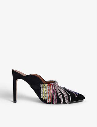 Kurt Geiger Duke Rainbow diamante-embellished heeled suede mules