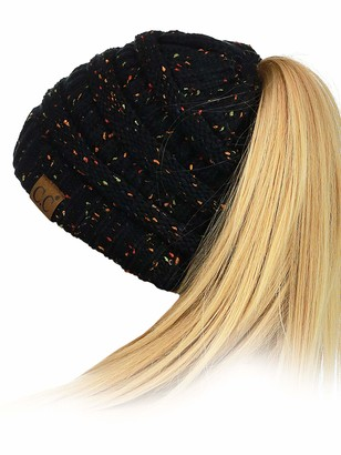 C.C BeanieTail Soft Stretch Cable Knit Messy High Bun Ponytail Beanie Hat - Green -