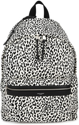 Saint Laurent Monochrome leopard-print canvas backpack