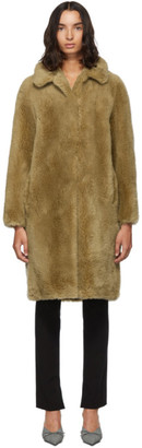 Yves Salomon Meteo Beige Woven Wool Coat