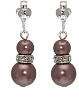 AJ Fashion Jewellery Florentin plated Crystal Mink faux Pearl Clip On Earrings