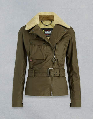 Belstaff SAMMY MILLER WAXED JACKET WITH SHEARLING Green UK 8 /