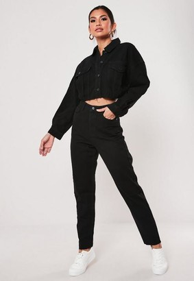 Missguided Black Co Ord Raw Hem High Waisted Jeans