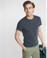 Express Fine Stripe Short Sleeve Crew Neck Tee