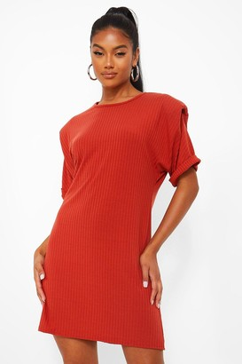 boohoo Jersey Shoulder Pad T-Shirt Dress
