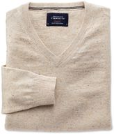 Stone Cotton Cashmere V-neck Jumper Size Large By Charles Tyrwhitt
