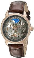 Stuhrling Original Men's Automatic Watch with Grey Dial Analogue Display and Brown Leather Strap 835.04