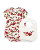 Dolce & Gabbana Rose-Print Playsuit w/ Bib, Size 3-18 Months