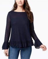 Style&Co. Style & Co Petite Ruffle-Trim Sweater, Created for Macy's