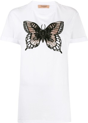 Twin-Set embroidered butterfly T-shirta round neck