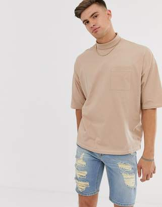 BEIGE Asos Design ASOS DESIGN high neck oversized t-shirt with pocket and contrast stitching in