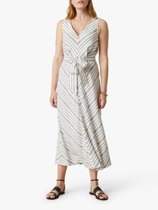 Jigsaw Chevron Linen Blend Dress, Ivory