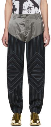 KIKO KOSTADINOV Navy Striped Rhombus Trousers