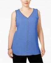 Alfani Plus Size Studded Sleeveless Tunic Blouse, Only at Macy's