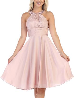 Blush B-Lush Mayqueen MayQueen Women's Special Occasion Dresses Blush - Blush Rhinestone Halter A-Line Dress - Women