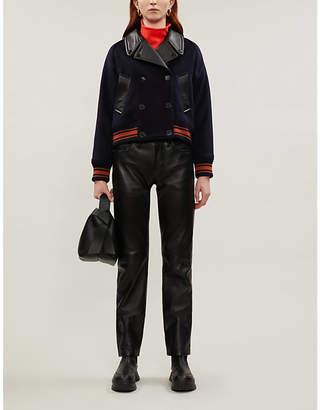 Sandro Cropped felt stripe-trimmed jacket