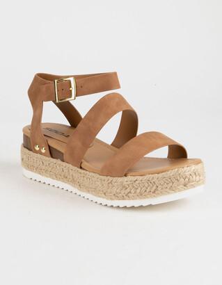 Soda Sunglasses Ankle Banded Tan Womens Espadrille Flatform Sandals