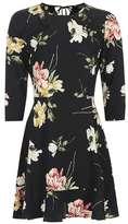 Paint floral frill tea dress