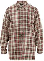 Raf Simons Button-down collar checked linen-blend shirt